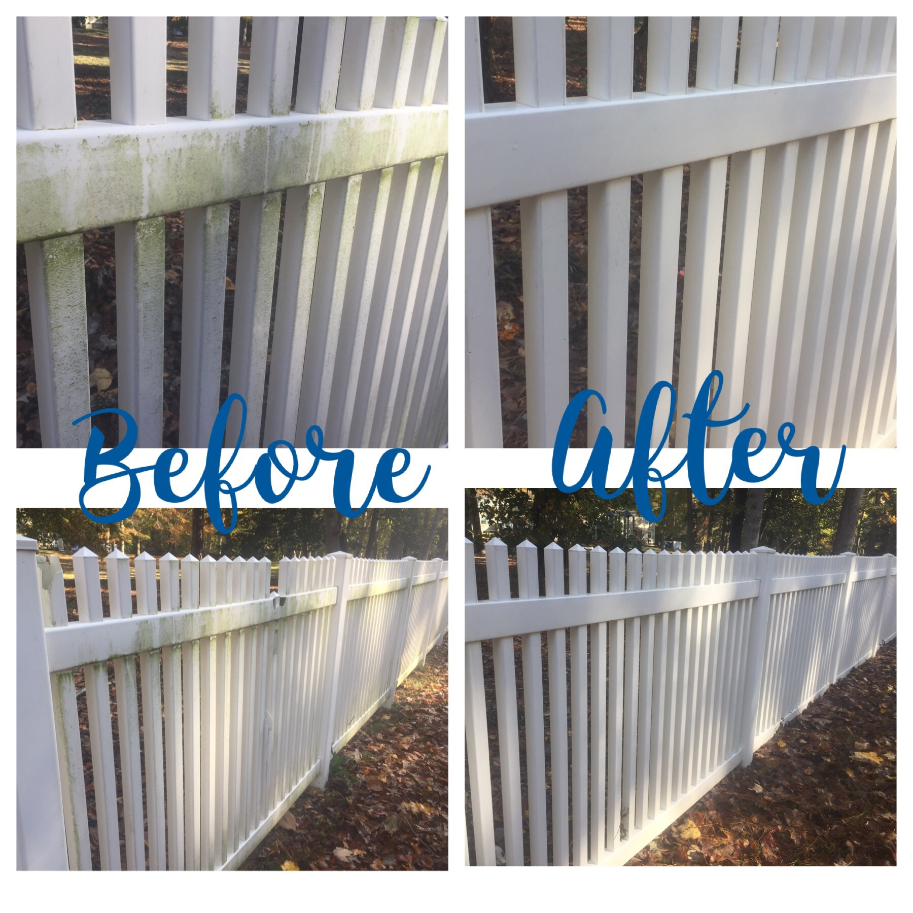 Vinyl Fence Before and After Soft Wash